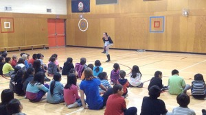 Sarah performs gumboot at Cayoosh Elementary