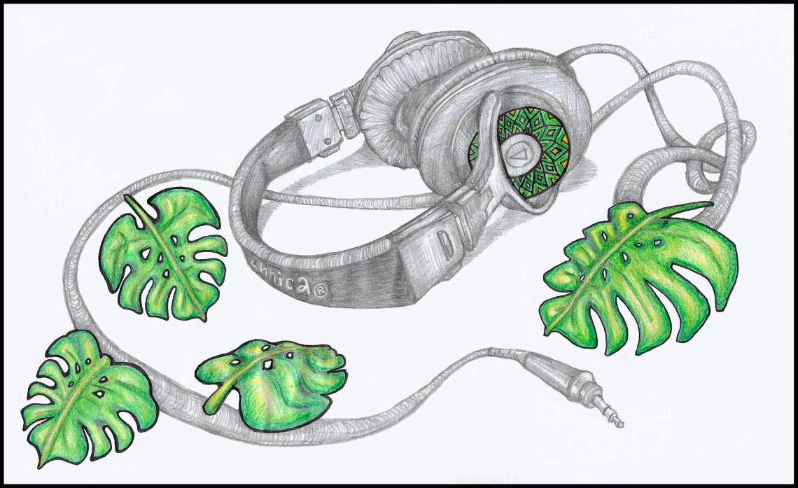 headphones deliciosa monstera